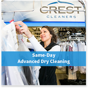 Crest Advanced Dry Cleaners offers same-day dry cleaning service.