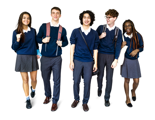 Diverse group of students wearing school uniforms.